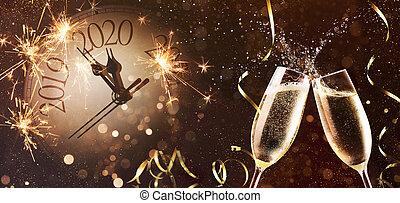 nouveau, veille, fond, années, célébration