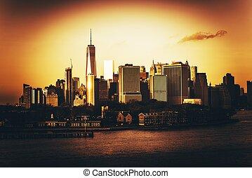 nouveau, ville, york, heure, doré