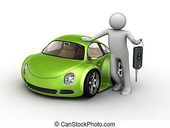 nouveau, voiture verte