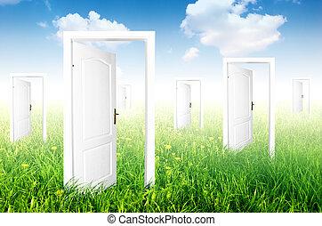 nouveau, world., portes