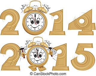 nouveau, year`s, horloge
