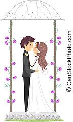 nouveaux mariés, dans, a, gazebo