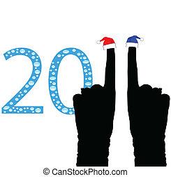 nouvel an, 2011, main, vecteur, illustrat