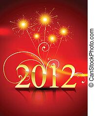 nouvel an, 2012, fond, heureux