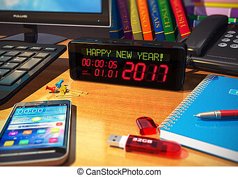 nouvel an, 2017, concept