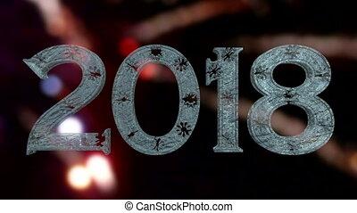 nouvel an, 2018, glace, texte