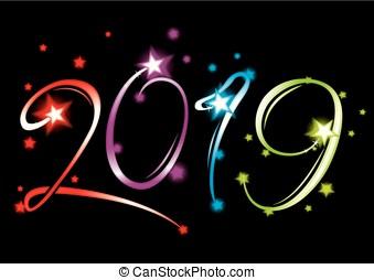 nouvel an, 2019, événement, grandiose