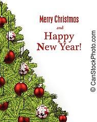nouvel an, card., noël