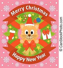 nouvel an, carte, fond, chat
