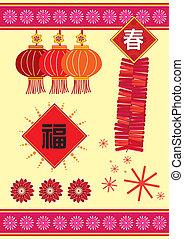 nouvel an, chinois, élément