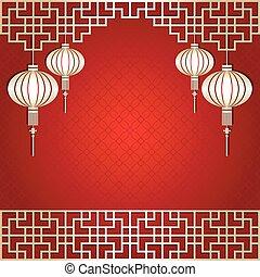 nouvel an, chinois, fond, lanterne