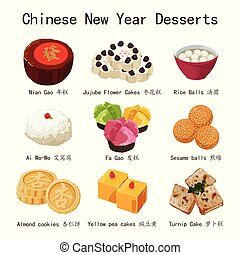 nouvel an, chinois, illustration, desserts
