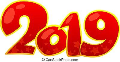 nouvel an, element., 2019, heureux, conception