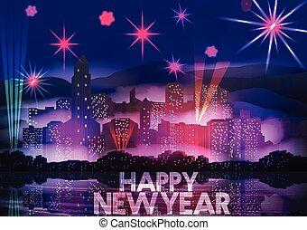 nouvel an, fête, affiche, gabarit