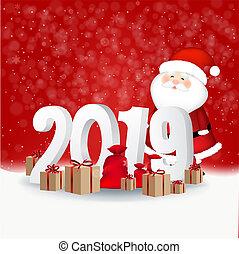 nouvel an, fond, carte, rouges