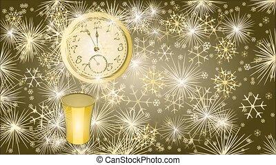 nouvel an, heureux, fond, cloc