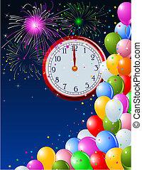 nouvel an, minuit, fond, horloge