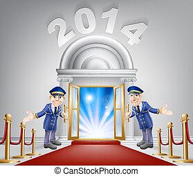 nouvel an, porte, occasion, 2014