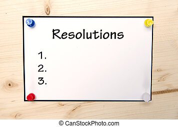 nouvel an, resolutions, note, dans, vide