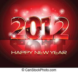 nouvel an, veille, fond, 2012