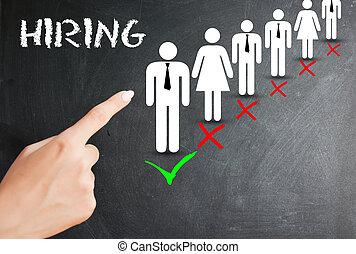 nouvel employé, ou, recrutement, procédé embauche