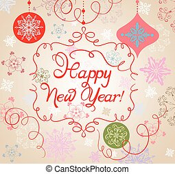 nouvelle année, retro, carte, salutation