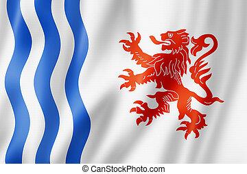 nouvelle-aquitaine, región, bandera, francia