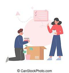 nouvelle femme, déballage, couple, carton, homme, replacer, ...