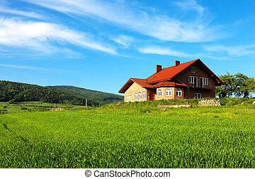 nouvelle maison, dans montagnes