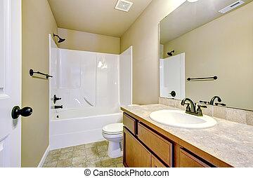 nouvelle maison, salle bains, à, douche, et, bath.