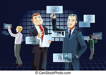 nouvelle technologie, hommes affaires