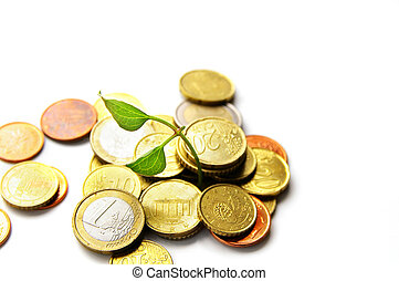 nouvelle vie, croissant, depuis, a, tas, de, euro, pièces