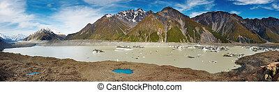 nouvelle zélande, glacier, lac