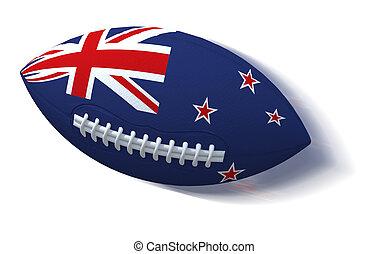 nouvelle zélande, sur, balle rugby, à, ternissure mouvement, blanc