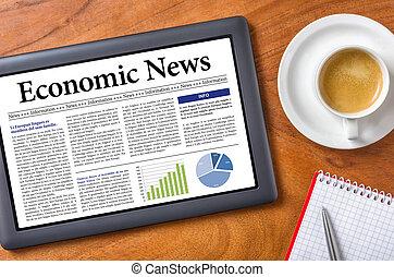 nouvelles, économique, -, tablette, bureau