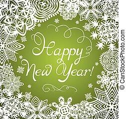 nouvelles années, salutation, flocons neige