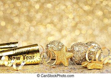 nouvelles années veille, doré, fête, backgrou