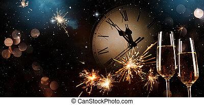nouvelles années veille, fond, célébration