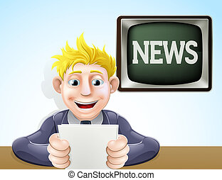 nouvelles, dessin animé, lecteur