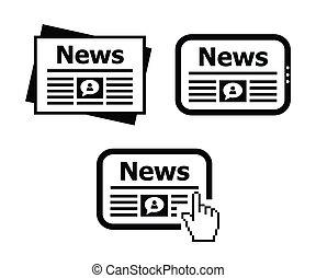 nouvelles, ensemble, newpaper, tablette, icônes