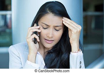 nouvelles, mauvais, messages, téléphone