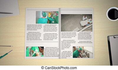 nouvelles, monde médical, tourner, pages, main