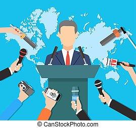 nouvelles, mondiale, entrevue, conférence presse, tv, vivant