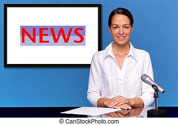nouvelles, présentateur, présentation, femme