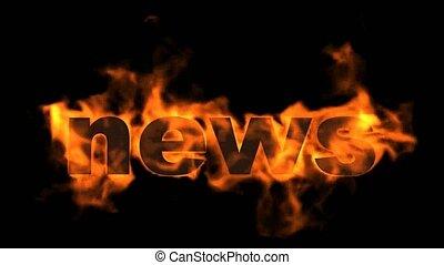 nouvelles, text., brûlé