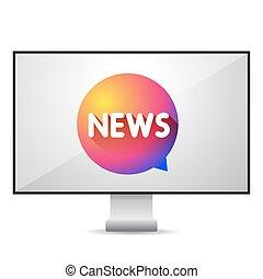 nouvelles tv, écran, vecteur