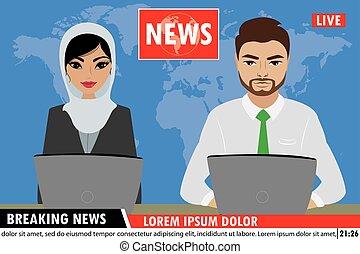nouvelles, tv, arabe, reportage, ancres, rupture