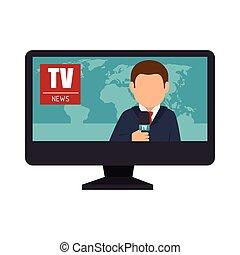nouvelles tv, lcd, graphique, journaliste