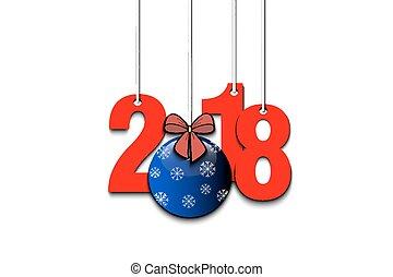 nový rok, číslice, 2018, a, vánoce koule