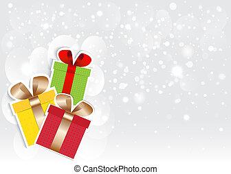 nový rok, karta, do, stříbrný, bokeh, grafické pozadí., vektor, eps10.